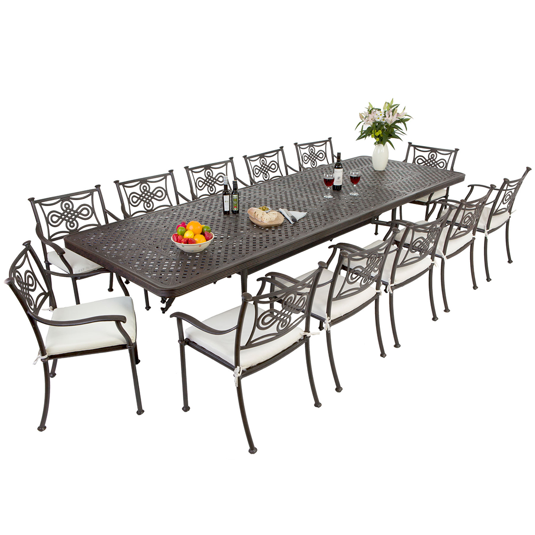 Cast aluminium 12 seat extending dining set for 12 seater dining table sets