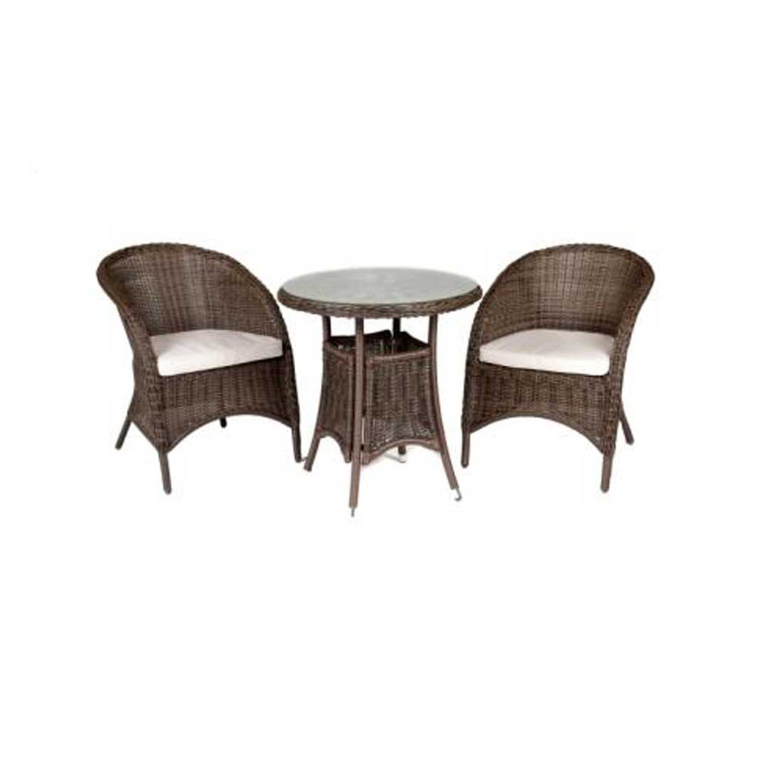 Riverdale bistro rattan garden set with 70cm high table for Garden furniture table and chairs