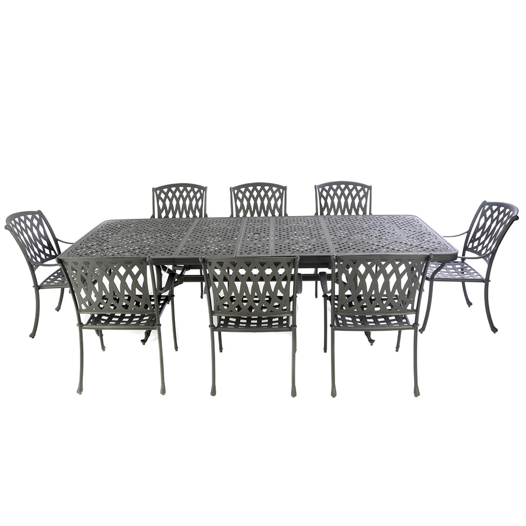 rs3402_extending table with 8 venetian chairs black - Garden Furniture 8 Seater Metal
