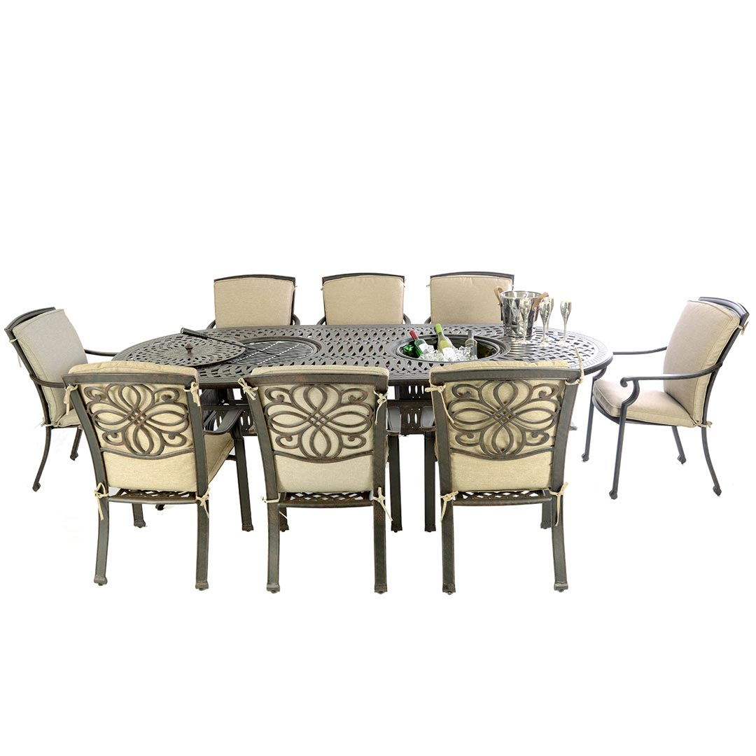 Kensington Firepit Grill Oval Double Bowl Table With 8 Dining Armchairs