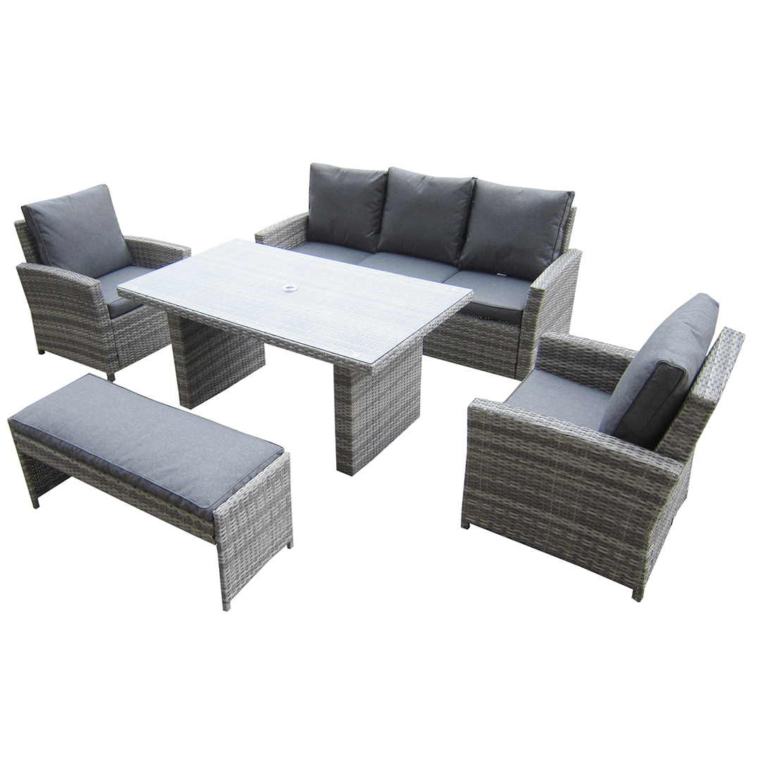 kensington malmo 5pc sofa set - 2 armchairs, 3 seat sofa, dining 3 Seater Dining Bench