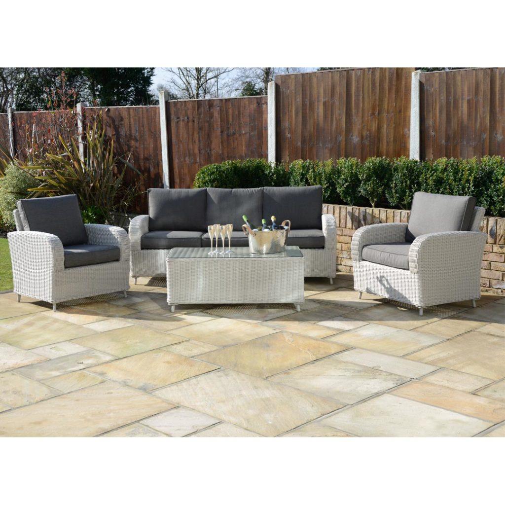 Kensington deluxe havana 4 piece sofa set pebble for Outdoor furniture essex