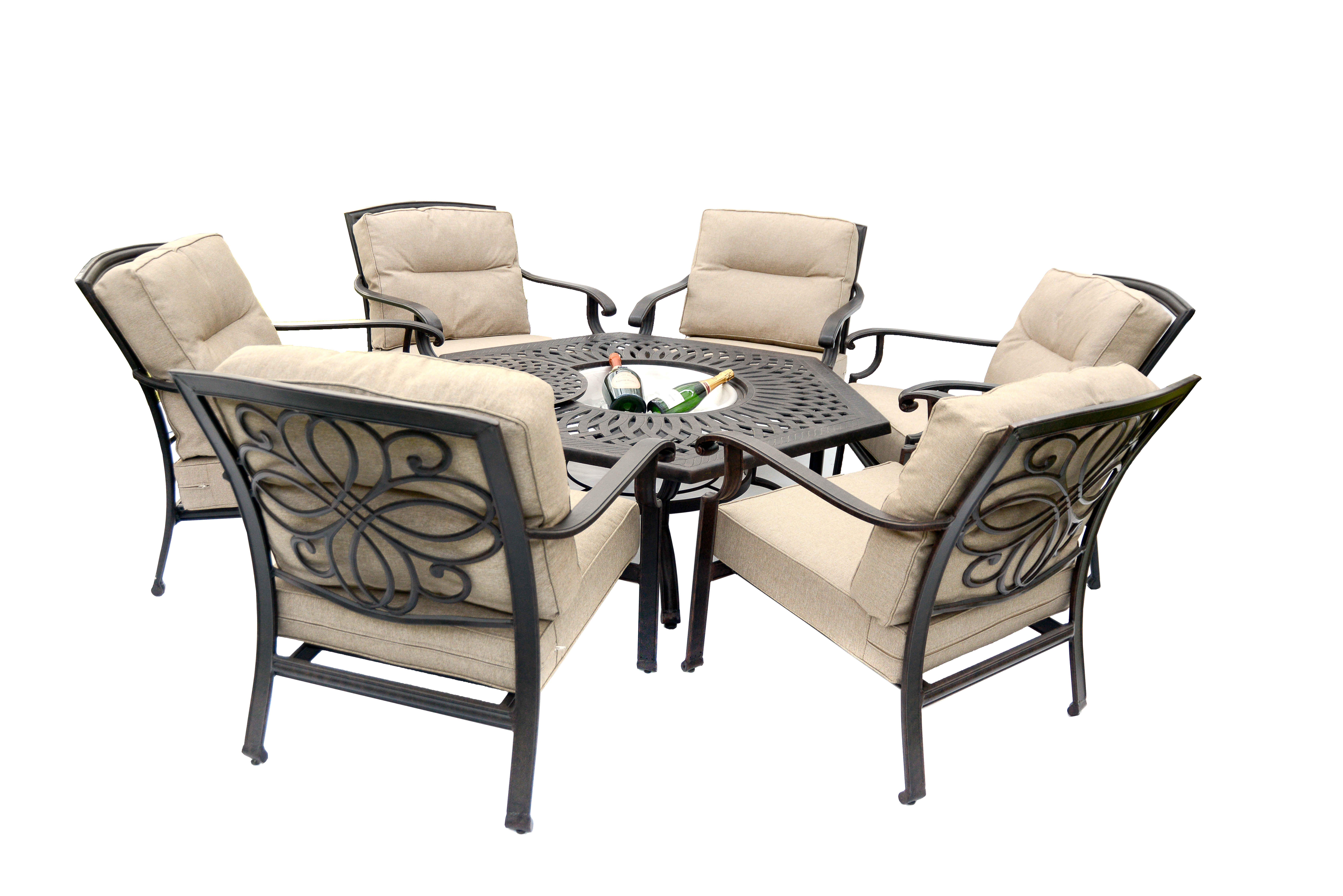 Gregg Wallace 6 Chair Hex Low Fire Pit Set