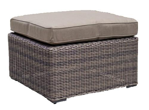 Kensington Deluxe Rattan Ottoman with Cushion