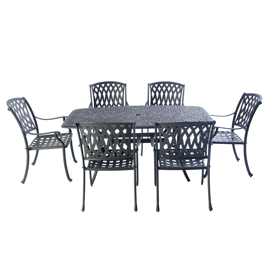 Cast Aluminium Boat Shaped Table Set With 6 Venetian