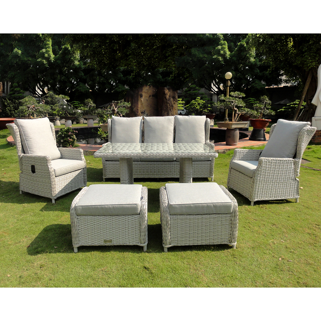 Kensington buckingham 6 piece reclining dining sofa set lunar